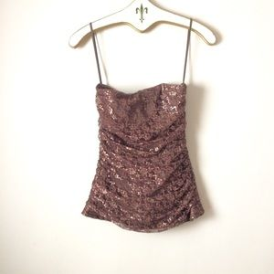 Betsey Johnson Tops - Betsy Johnson evening sequin gold strapless top